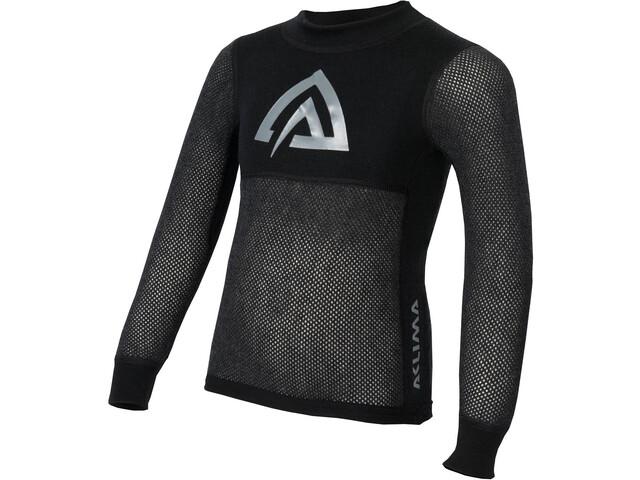 Aclima WoolNet Mini T-shirt Manches longues Col ras-du-cou Enfant, brace melange/jet black